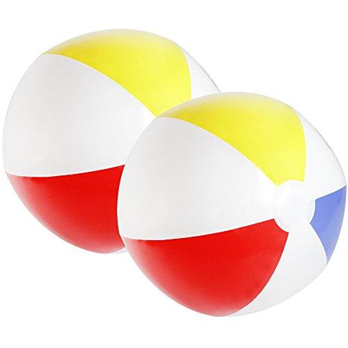 com-four® 2X Wasserball aufblasbar - Strandball wasserabweisend - Beachball für Strand, Pool und Badesee - Badespielzeug - Ø 32 cm (02 Stück)