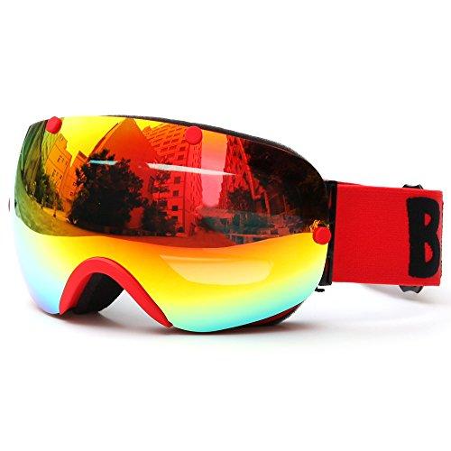 Lixada - Occhiali da sci invernali, protezione UV400, occhiali da sci sferici, anti-appannamento, per sci e sport invernali, B – rosso – 7,0 × 3,7 pollici