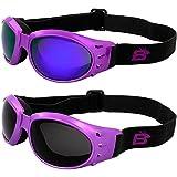 2 Pairs of Birdz Eyewear Eagle Women's Purple Airy Foam Padded Motorcycle Goggles Smoke & Purple ReflecTech Mirror Lenses