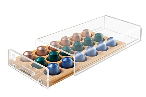MACOM Just Kitchen 836 Mini Space Coffee Dispenser Portacapsule Universale per Macchine caffè, 18 Capsule, cassetto in Legno