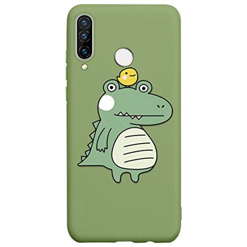 Eouine Capa para celular Huawei P30 Pro, capa de telefone 3D de silicone verde grama com estampa de desenho animado ultrafina, capa de borracha macia à prova de choque para smartphone Huawei P30 Pro, 06