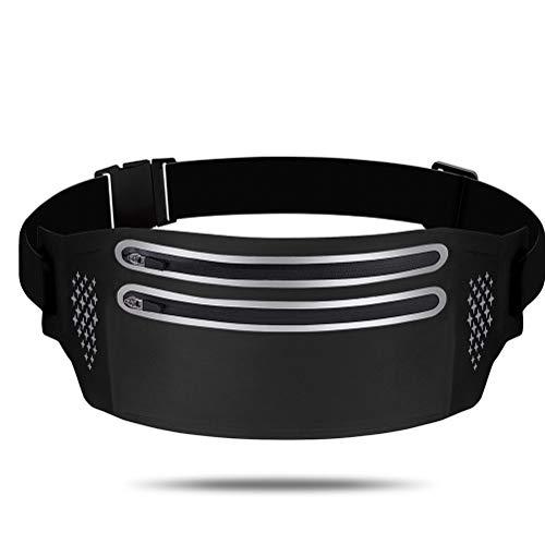 AIJIANG Zipper Running Belt / Running Belt Bag, Dual Zipper Running Waist Bag con Correa elástica Ajustable Running Belt para Ejercicios de Gimnasio Ejercicio Ciclismo Actividades al Aire Libre