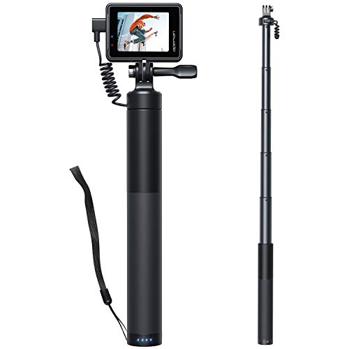APEMAN Action Cam Wiederaufladbarer Selfie Stick SS200, Handheld Stick 2600Mah Power Bank mit USB Kabel, Einziehbarer Aluminium Selfie Stick for victure/Crosstour/AKASO/Gopro Sports Camera