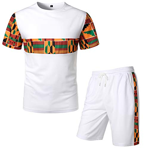 LucMatton Men's African Pattern Printed T-Shirt and Shorts Set Sports Mesh Tracksuit Dashiki Outfits White Medium
