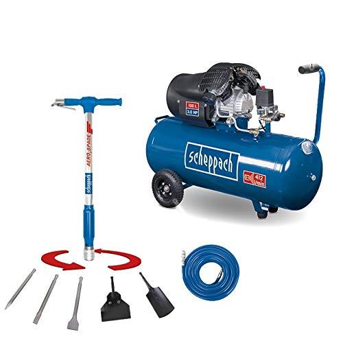 SCHEPPACH SET HC120DC Kompressor | 10 bar Arbeitsdruck max. | 100 Liter Kessel | Inkl. Aero² Spade 5in1 Werkzeug und 15m Gewebeschlauch