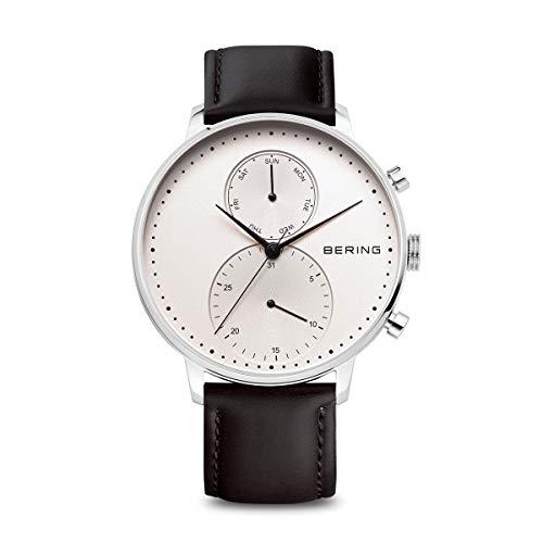 BERING Reloj Analógico Classic Collection para Hombre de Cuarzo con Correa en Cuero y Cristal de Zafiro 13242-404