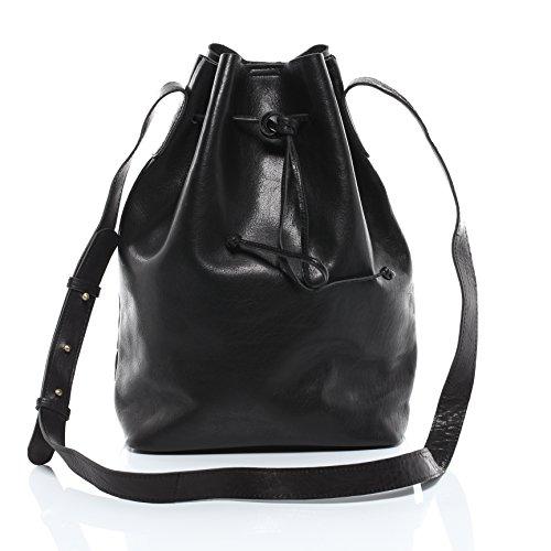 SID & VAIN Schnürbeutel echt Leder Patty Hobo Bag Beuteltasche Ledertasche Damen schwarz