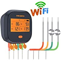 Inkbird IBBQ-4T Rechargeable WiFi Grill BBQ Thermometer with 4 Probes