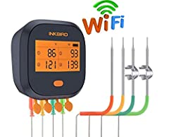 ✅【Wi-Fi Connection】Download Inkbird Pro app, this Smoker thermometer is connected over 2.4GHZ Wi-Fi with your phone, support monitor multiple Inkbird devices with your phone easily through one APP as well. Please do not put the unit in high temperatu...