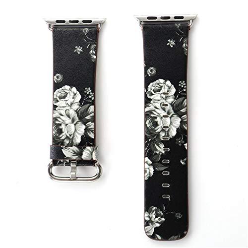 Pulsera de muñeca con estampado floral CHERRYY para la serie 4 para Apple Watch, correa de reloj de cuero con banda de 40 mm y 44 mm para IWatch Series 1/2/3 38 mm 42 mm