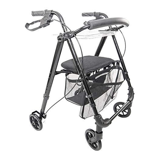 IR10+ Indoor Rollator - Gehwagen - Leichtgewicht, schmal und kompakt für den Gebrauch in Haus und Wohnung, klappbar, Höhe einstellbar, Schwarz, inkl. Netz + Tablett