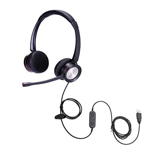 Auriculares USB binaurales cómodos con micrófono con cancelación de ruido para computadora, computadora portátil, para equipos, Skype, dragón, dictado, jabber, zoom, oficina, escuela, cursos y juegos