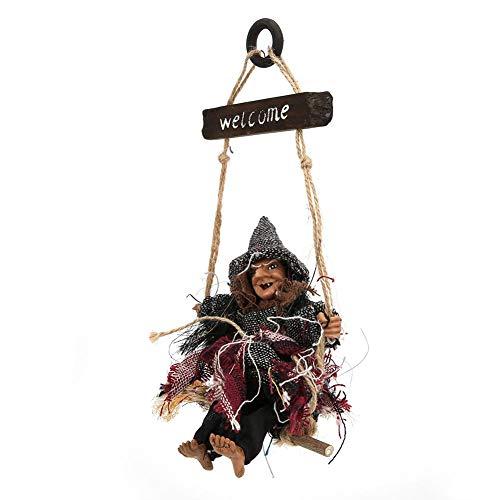Tnfeeon Hangende decoraties voor Halloween-heks, voor school en huisbar, tuin, horror, hangende vliegenheks, hangende halloween-decoratieve steunen Hks met grijze muts