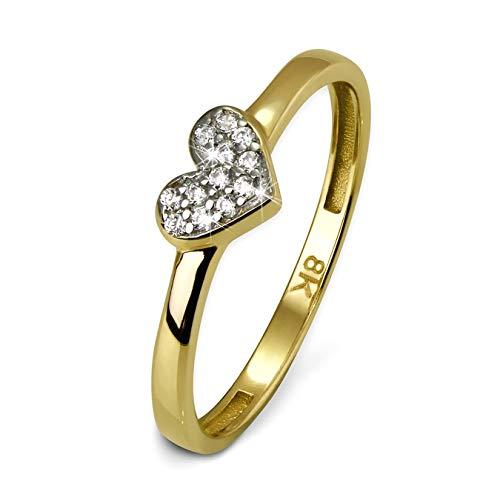 GoldDream Gold Ring 8 Karat Zirkonia weiß Herz Gr.60 333er Gelbgold D3GDR503Y60 Gold, Gelbgold Ringschmuck für die Frau