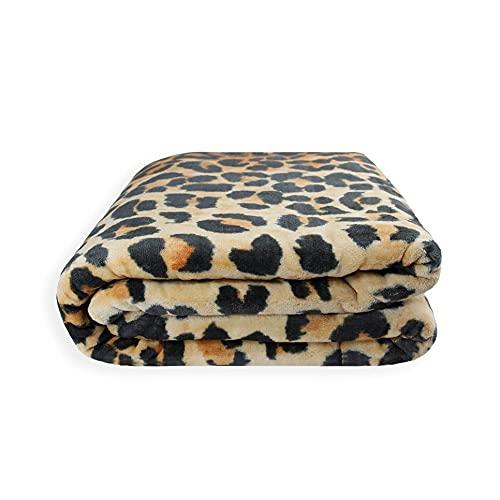 Acomoda Textil - Manta Raschel Terciopelo. Manta Grande para Cama 135-150, Cálida, Gruesa y Suave. (Leopardo, 240x220)