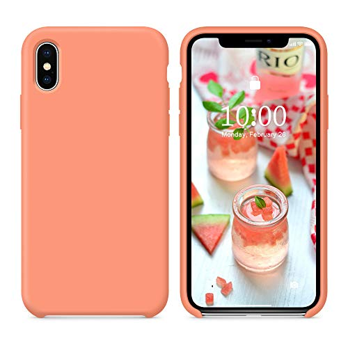 SURPHY Silicone Case for iPhone Xs Max Case, Soft Liquid Silicone Shockproof Phone Case (with Microfiber Lining) Compatible with iPhone Xs Max (2018) 6.5 inches (Peach)