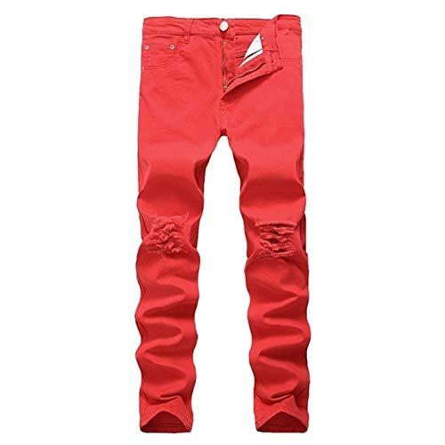 LIBILAA Hip Hop Swag de Streetwear for los Hombres Jeans Ajustados Negro Rasgado Stretch Ocasionales Delgados Agujeros Dril de algodón del Motorista Los Pantalones Vaqueros (Color : Red, Size : 33)