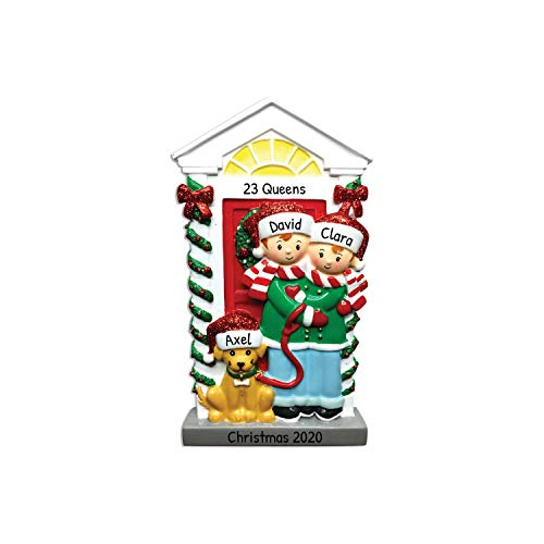 Personalized Couple with Dog Christmas Tree Ornament 2020 - Happy Friend Hug Santa Hat Yellow Beige Pet Garnish Door Roommates Home Together Holiday Tradition Sibling Gift Year - Free Customization