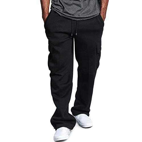 Syfinee Men Cotton Cargo Pant Athletic Baggy Sweatpants with Pocket Long Running Pant Cargo Pockets Sweat Pants Casual Loose Trousers Solid Color Soft for Sports