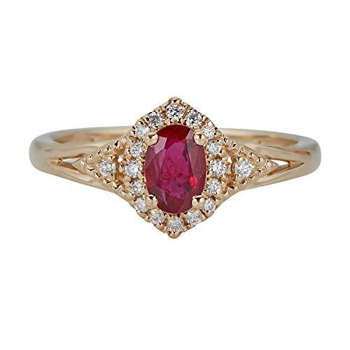 Gin & Grace 10K oro amarillo genuino diamante Rubí (I1, I2) Proponer la promesa anillo para las mujeres