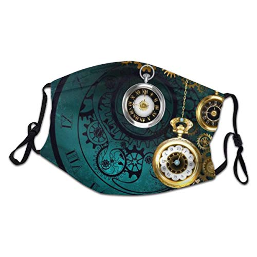 Comfortable Face Mask boy girl Steampunk Jewelery, Antique Clock With Gold Chains On Green Textured Background. Sun-Proof Fashion Bandana Headwear for Fishing