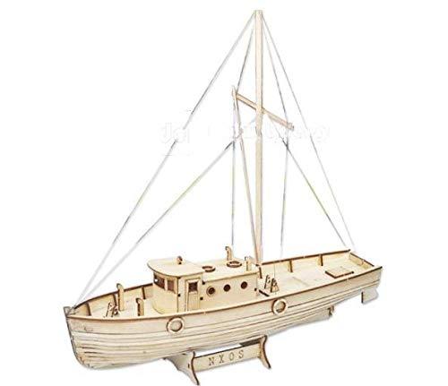 SIourso Maquetas De Barcos De Madera Modelo Kit De Construcción De Modelo De Velero De Madera Cortado con Láser: Nxos Barco De Pesca Modelo De Juguete Educativo Regalo
