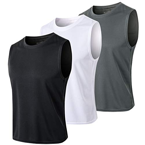 Men's Tank Tops, Cool Dry fit Athletic Workout Sleeveless T Shirt, Running Gym Basketball Muscle Bodybuilding Undershirt (Black+White+Grey, Small)