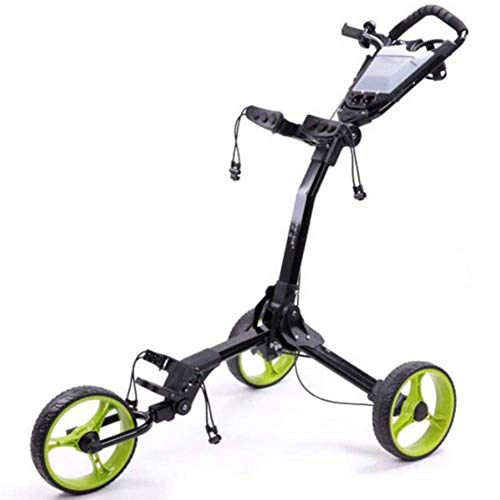 Lowest Price! LUSHUN 3 Wheel Push Pull Golf Cart, Collapsible Cart, One Second to Open and Close Fol...
