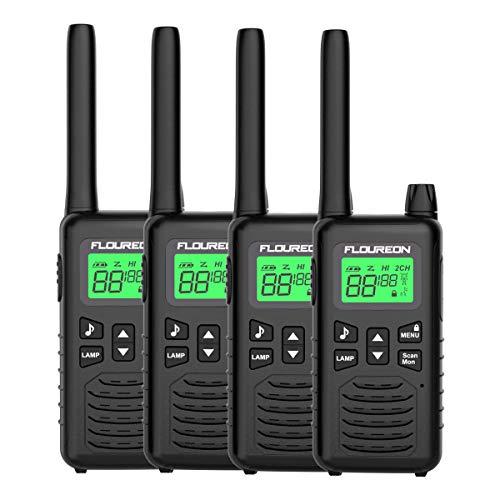 FLOUREON Niño o Adulto Walkie Talkies, 4PCS 16 Canales Radio de 2 vías con Pantalla LCD para Supermercado/Hogar/Actividad de Interior o al Aire Libre (Negro)
