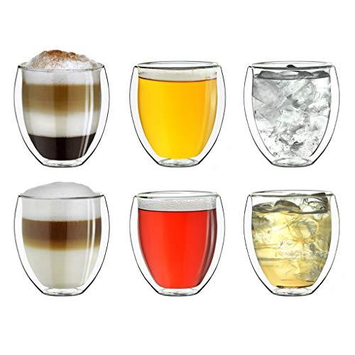 """Creano doppelwandige Gläser 250ml """"DG-Bauchig"""", 6er Set, großes Thermoglas doppelwandig aus Borosilikatglas, Kaffeegläser, Teegläser, Latte Gläser, Doppelwandgläser"""