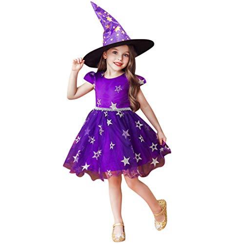 Romantic Kinder Baby Mädchen Halloween Kostüme Kurzarm Cosplay Kleid Prinzessin Kostüm Kleider mit Bowknot und Sternen, Hexe Hut 2er Set Fancy Dress Verkleiden Kostüme für Karneval Halloween