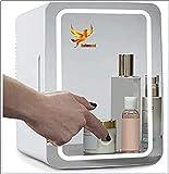 YUTGMasst Maquillaje Nevera con Espejo LED, El Coche De Refrigerador, Mini Refrigerador del Refrigerador/For Cosméticos para Maquillaje Y Cuidado La Piel, Casa Bar (8 litros / 8.4 Cuartos Galón)