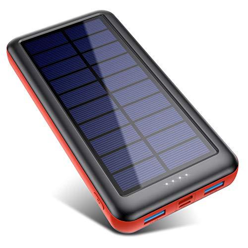 Trswyop Cargador Solar Portátil 26800mAh, Batería Externa Movil [3 Entradas y 2 Salidas] Power Bank Solar Carga Rapida de Gran Capacidad con Entrada USB C para iPhone Samsung Huawei Tableta - Rojo