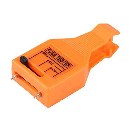 車ブレードヒューズプラー ミニ/標準ブレードヒューズのための多機能車ブレードヒューズプラー ブレードヒューズチェッカーテスター 3-in-1設計 滑り止めハンドル 携帯性 ヒューズクリップ 除去ツール オレンジ色