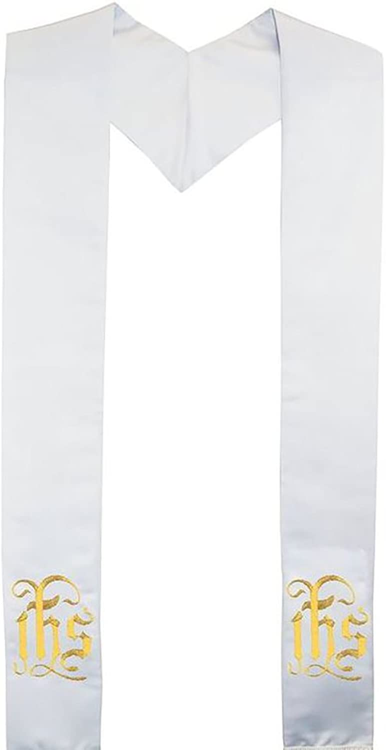 Clergy Stole Embroidered Greek Monogram IHS Deluxe Satin White 80  Long