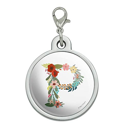GRAPHICS & MORE Letter P Floral Monogram Initial Chrome Plated Metal Pet Dog Cat ID Tag