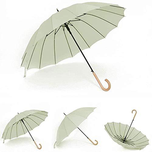 Paraguas portátil Gran paraguas de palillo de paseo de golf, 38 pulgadas a prueba de viento Abrir para 2 personas Hombres mujeres, mango de madera clásico Ligero (Color: B) Paraguas de viaje compacto