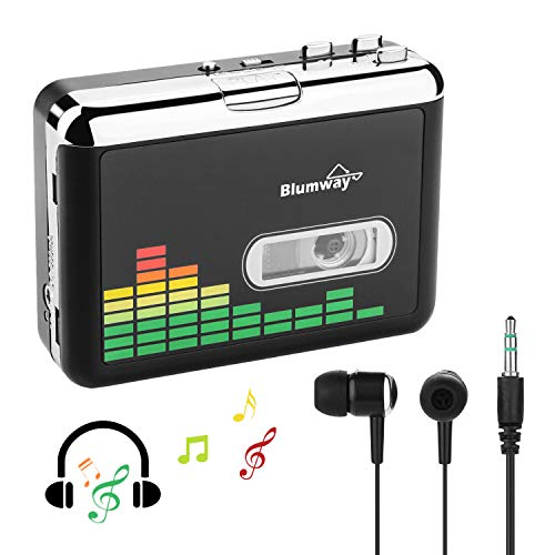 Portable Cassette Player, Cassette to MP3 Converter via USB, Audio Music Cassette Tape to Digital Converter Player with Earphone, No Need Computer