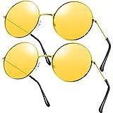 2 Paare Hippie Sonnenbrillen Retro Hippie Stil Sonnenbrillen Hippie Kostüm Sonnenbrillen Herren...