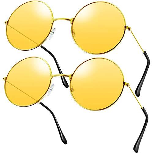 2 Paare Hippie Sonnenbrillen Retro Hippie Stil Sonnenbrillen Hippie Kostüm Sonnenbrillen Herren Damen Brillen (Orange Rund Form)