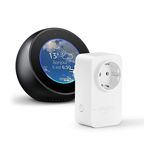 Amazon Echo Spot, Noir + Amazon Smart Plug (Prise connectée WiFi), Fonctionne...