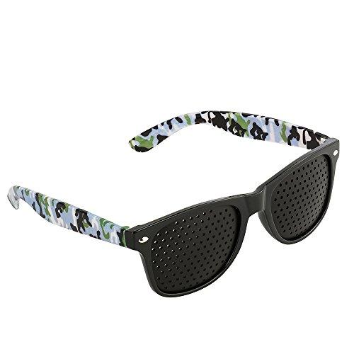 Gafas perforadas de Green House, unisex, reticulares para el cuidado de la vista y para mejorar la capacidad visual., Camuffare