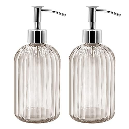 Pack de 2 dispensadores de jabón de cristal, 400 ml, dispensador de jabón...