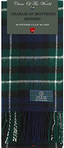 I Luv Ltd Graham of Montrose Modern Tartan Clan Scarf 100% Soft Lambswool