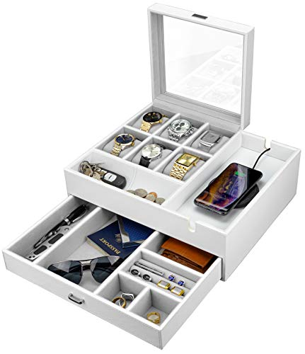 HOUNDSBAY Commander Dresser Valet Watch Box Case & Mens Jewelry Box Organizer with Smartphone Charging Station (White/Gray)