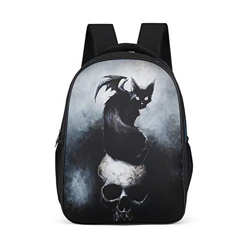 Mochila para niños con diseño de calavera, color negro, gato, demonio y niña
