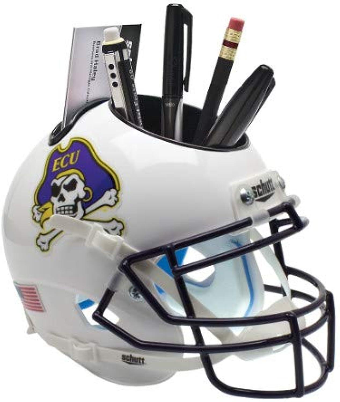 East Carolina Pirates (White) NCAA Football Schutt Mini Helmet Desk Caddy