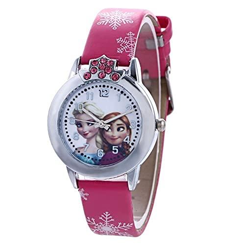 Orologio da polso da bambina Frozen, Elsa e Anna Frozen – Orologio da polso rosa fucsia con Elsa e Anna La Regina di Ghiaccio