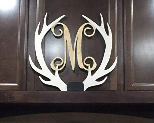 SALE 12-36 inch tall Wooden ANTLER Monogram Letters Vine Room Decor Nursery Decor Wooden Monogram Wall Art Large Wood monogram wall hanging wood LARGE