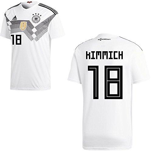 adidas DFB Deutschland Fußball Trikot Home Heimtrikot WM 2018 Herren Kinder mit Spieler Name Farbe Kimmich, Größe 152